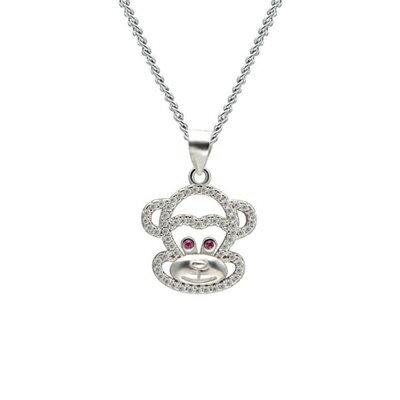 925純銀項鍊 鑲鑽吊墜~ 可愛嘻哈猴子母親節情人節生日 女飾品73dk369~ ~~米蘭