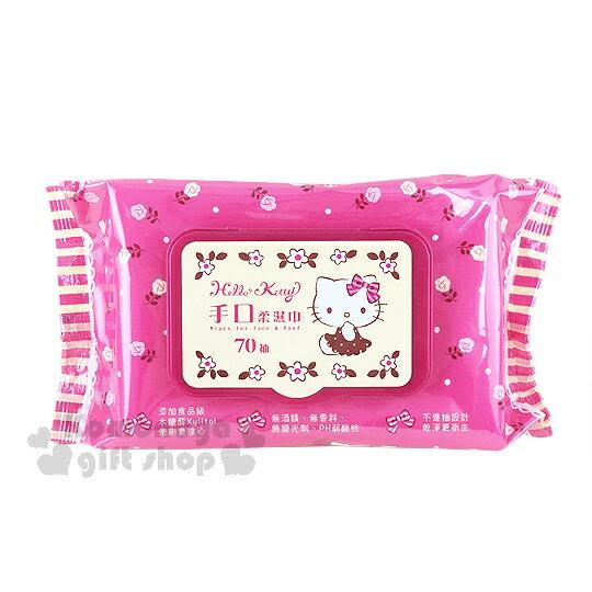 〔小禮堂〕Hello Kitty 附蓋濕紙巾《桃紅.玫瑰花》內有70抽手口濕紙巾