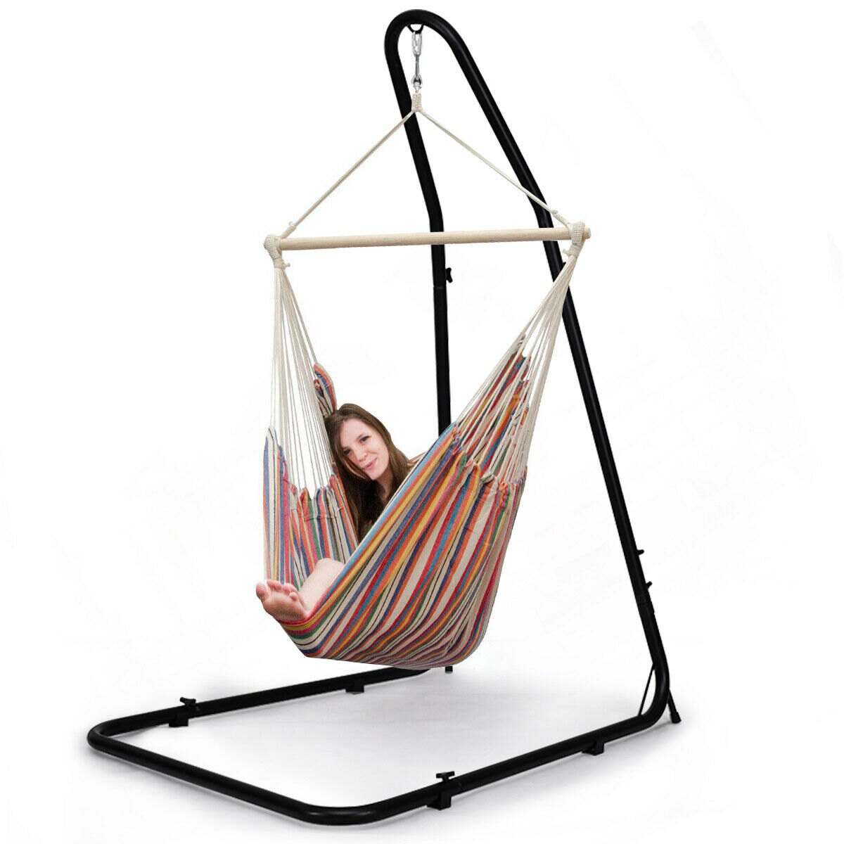 Ordinaire Costway Adjustable Hammock Chair Stand For Hammocks Swings U0026 Hanging Chairs  Steel Frame