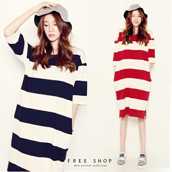 FreeShop初春清新條紋棉質連身洋裝紅白藍白條紋連身裙條紋連身洋裝條紋長版T【QCCCD1063】