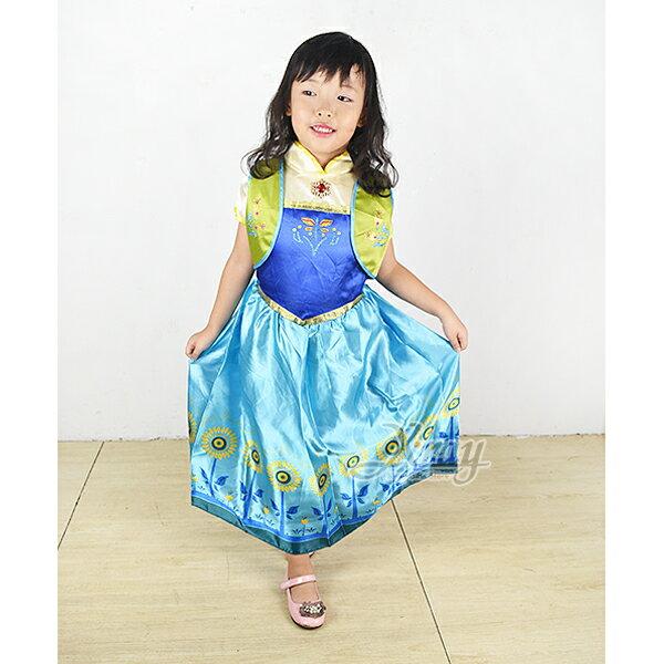 X射線 精緻禮品:X射線【W380006】安娜長裙(藍衣太陽花),冰雪奇緣化妝舞會萬聖節聖誕節兒童變裝cosplay