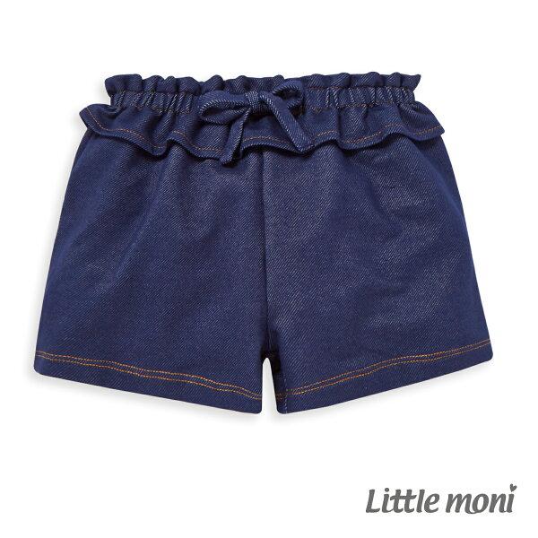 Littlemoni針織牛仔短褲-深藍
