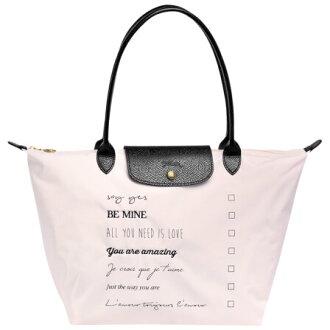 LONGCHAMP 2605 5030 C59 2016情人節新款女性手提包淡粉色織物長柄折疊托馬包水餃包