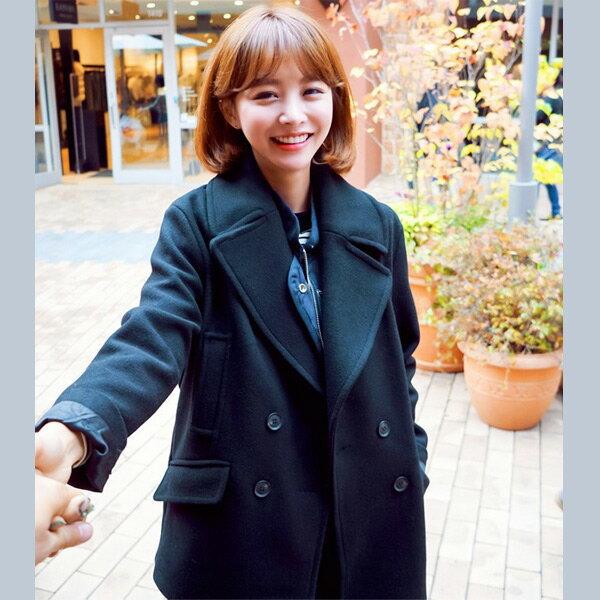 正韓國空運西裝領雙排釦羊毛呢外套厚暖 預購【69-25-832】ibella 艾貝拉