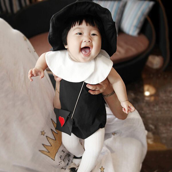ins 小魔女 娃娃領 包屁衣 無袖 連體衣 連身褲 花苞領 荷葉領 黑 可愛 萬聖節 棉 公主 歐美 宮廷風 ANNA S.