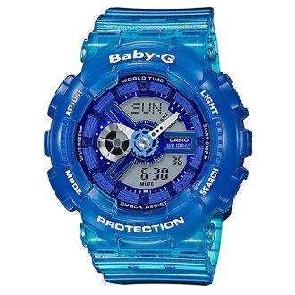 CASIO BABY-G BA-110JM-2A衝浪運動半透明果凍雙顯時尚腕錶/藍