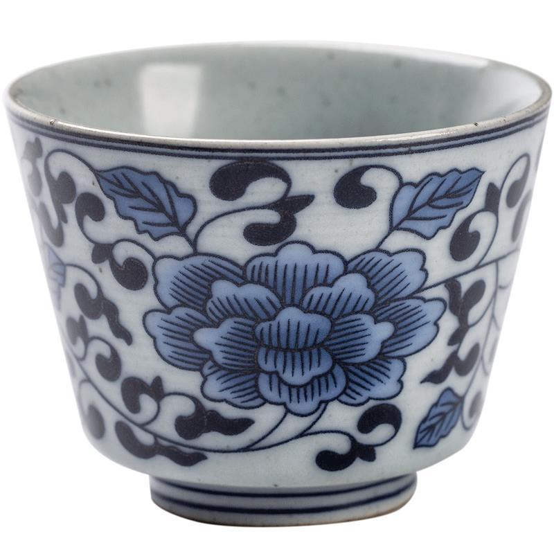 陶瓷品茗杯茶杯個人單杯主人杯復古功夫茶具送禮青花瓷纏枝蓮茶盞