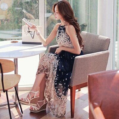 連身裙露肩洋裝-雪紡波希米亞風印花女連衣裙73nj8【獨家進口】【米蘭精品】
