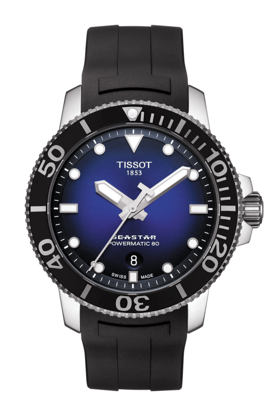 TISSOT 天梭錶 SEASTAR 1000海洋之星300米潛水機械錶T1204071704100藍x黑 / 43mm 1