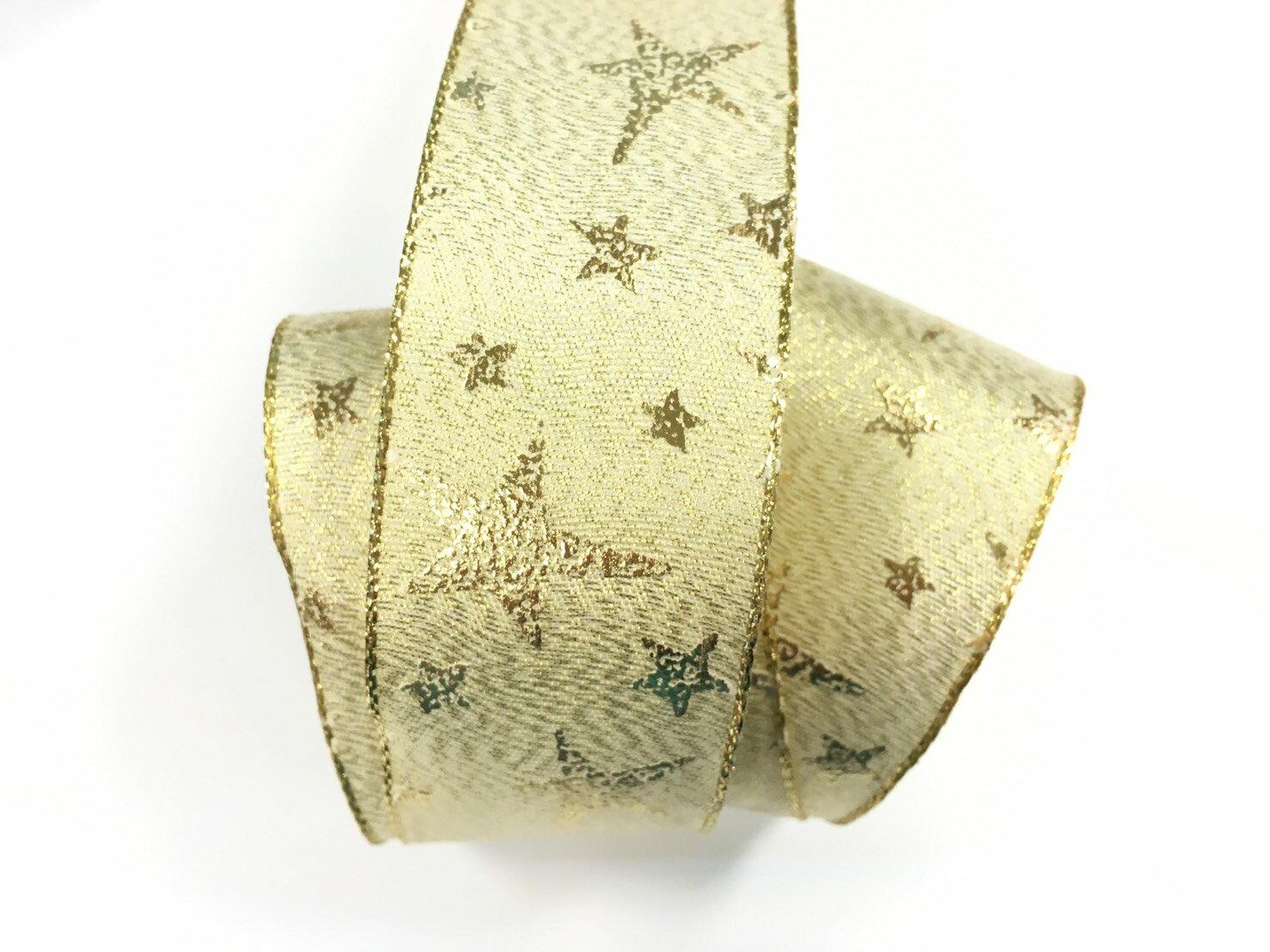 聖誕燙金銀星星+鐵絲緞帶 38mm 3碼裝 (2色) 0