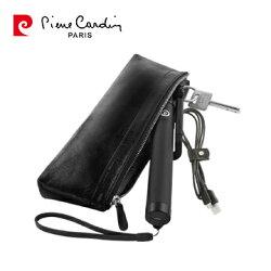 Pierre Cardin法國皮爾卡登簡約真皮筆袋  3C周邊配件收納包