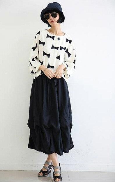 韓版長裙 鬆緊腰設計不拘束花苞式長裙 艾爾莎【TAE2391】 1