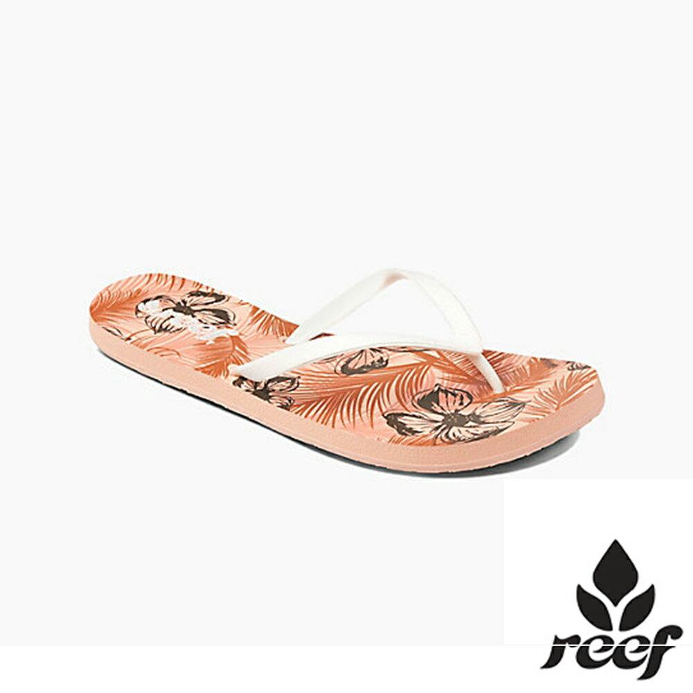 REEF 閃亮織帶彈性印花鞋床 女款夾腳拖 人字拖鞋 .玫瑰粉印花 RF1604UTO - 限時優惠好康折扣