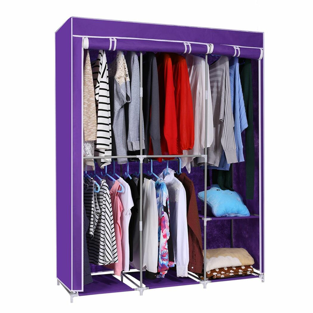 Home DIY Portable Closet Wardrobe Clothes Rack With Hanger 1