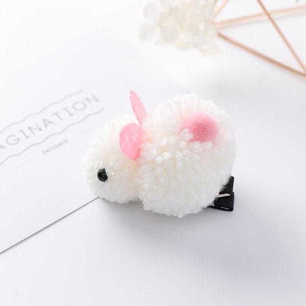 PS Mall 萌系可愛羊羔毛立體兔子髮夾髮飾 【G2034】 1