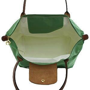 [1899-M號] 國外Outlet代購正品 法國巴黎 Longchamp 長柄 購物袋防水尼龍手提肩背水餃包淺綠色 3