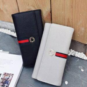 美麗大街~PCY52080022~ 配紅織帶女式錢包日式風範橫款PU皮錢夾中長款中性零錢包
