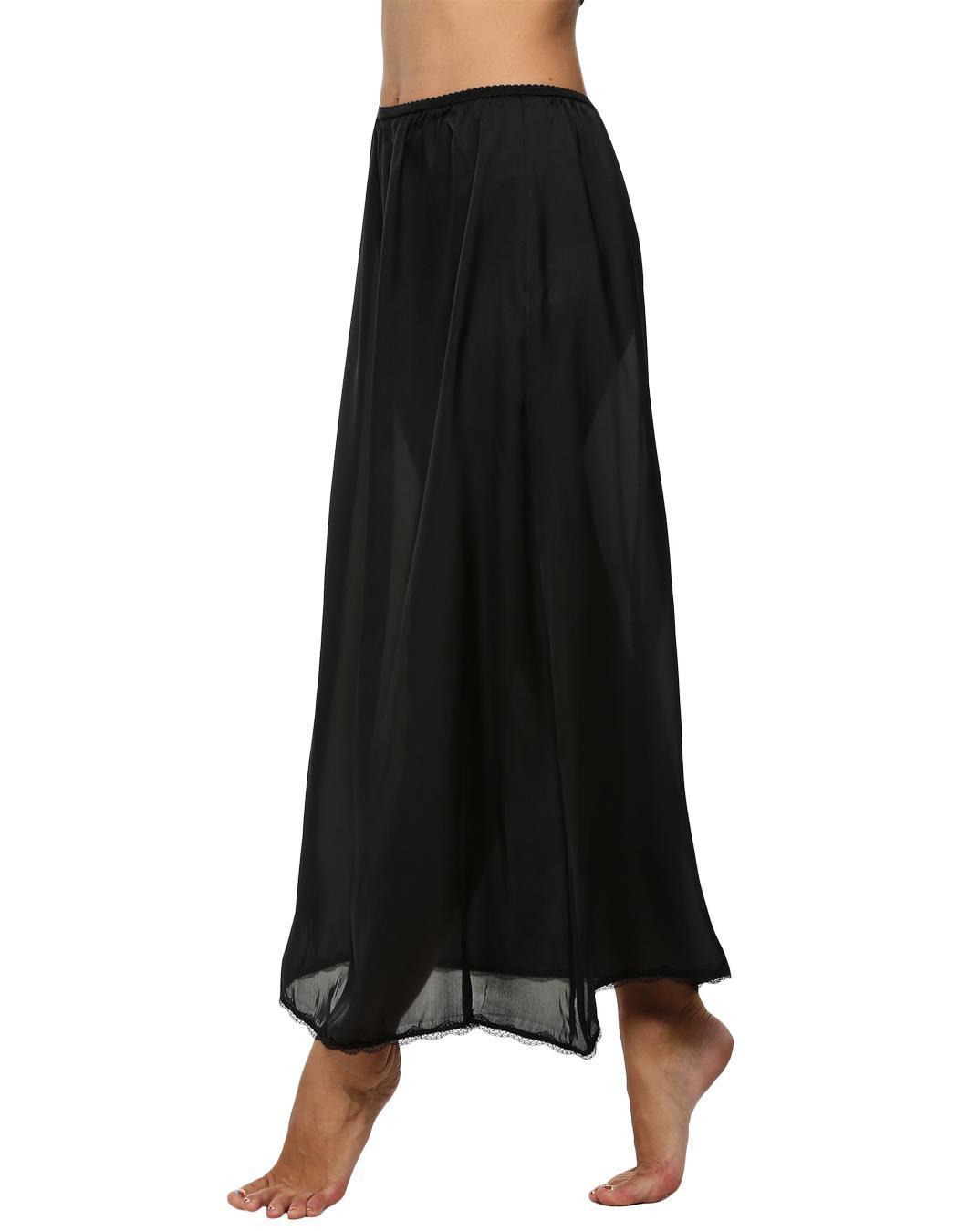Women Satin Solid Lace Trim Maxi Half Slip Underskirt Slip Skirt 1