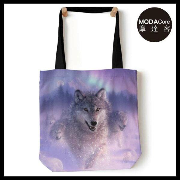 【摩達客】(預購)美國TheMountain歐若拉之狼藝術環保托特包