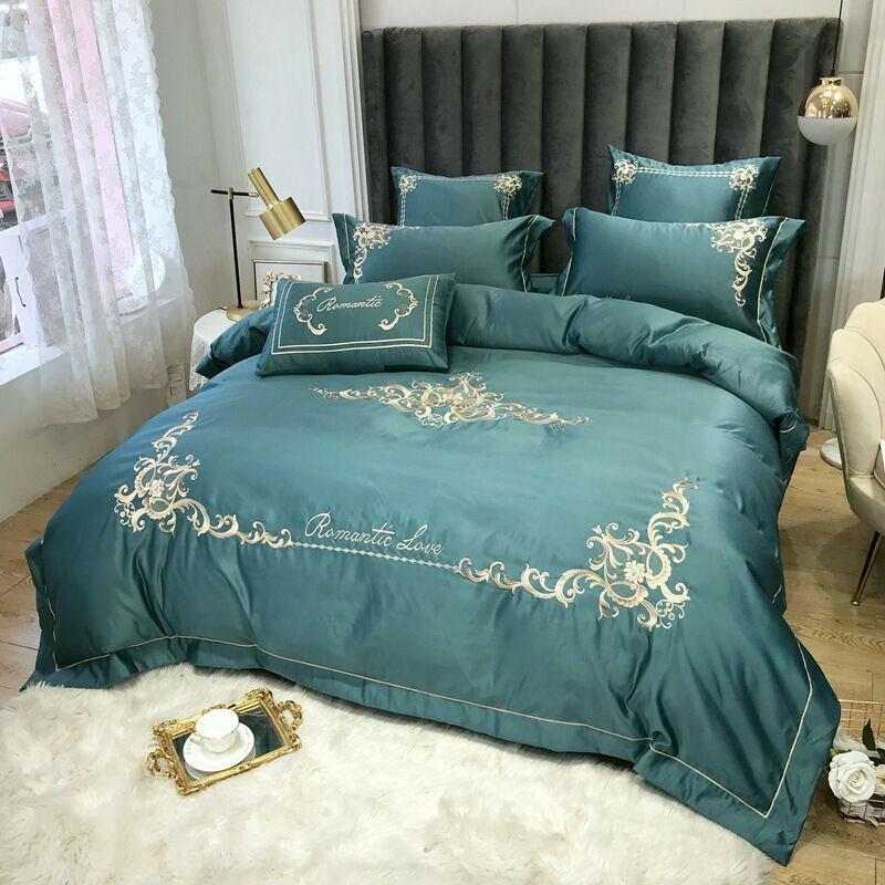 床包四件組  高檔床上用品水洗真絲刺繡四件套全棉冰絲被套純棉床單床笠款