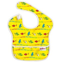 【淘氣寶寶】【美國Bumkins】防水兒童圍兜(一般無袖款6個月~2歲適用)-小魚 BKS-F01【保證公司貨】