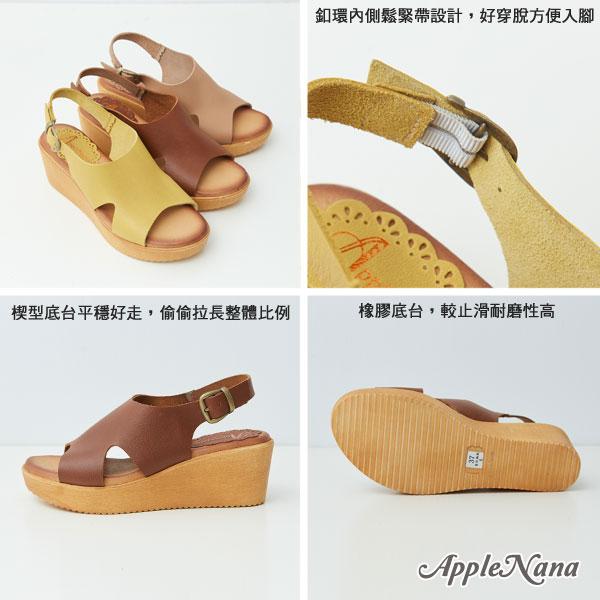 夏日必備渡假歐美風後拉全真皮厚底涼鞋【QR77661380】AppleNana蘋果奈奈 2