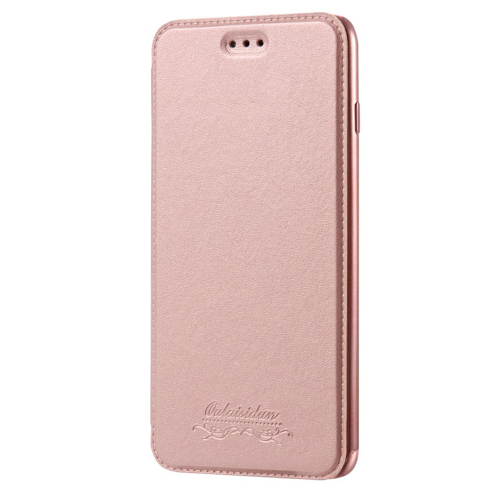 Outlet特價品Apple iPhone 7 Plus/8 Plus 共用透明電鍍邊框側掀美背皮套 手機殼/保護套 玫瑰金專區1 隨機出貨 $ 79