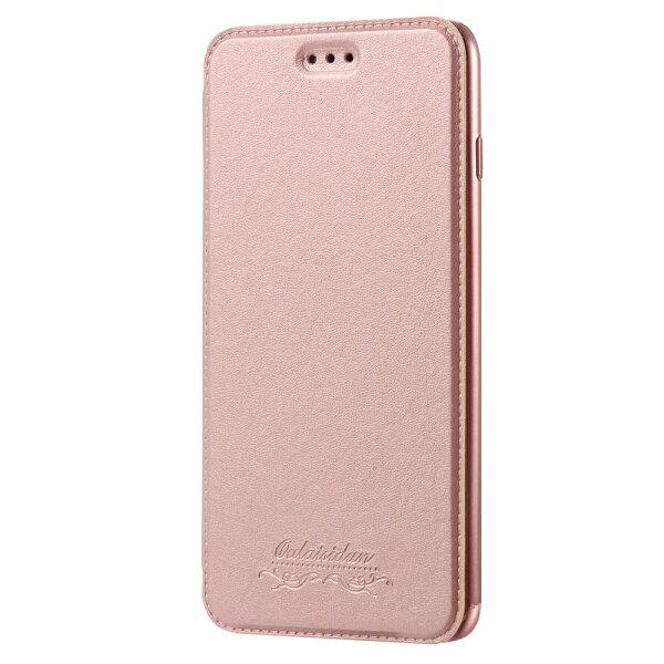 Outlet特價品AppleiPhone7Plus8Plus共用透明電鍍邊框側掀美背皮套手機殼保護套玫瑰金專區1隨機出貨$79
