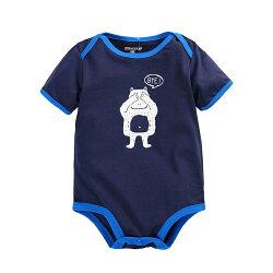 小熊印花短袖連身包屁衣 短袖 信封領 橘魔法Baby magic  現貨 兒童 童裝
