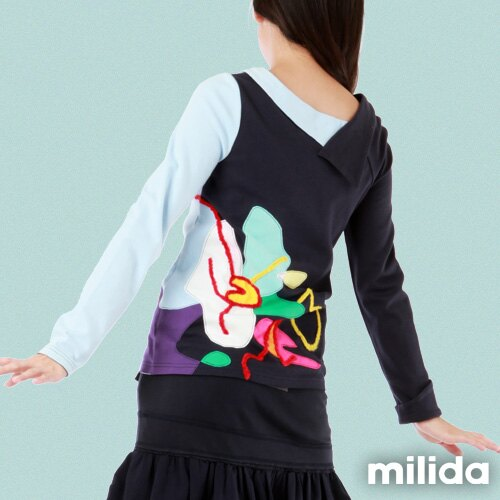 【Milida,全店七折免運】-秋冬單品-上衣款-人物插畫藝術拉鍊款 2