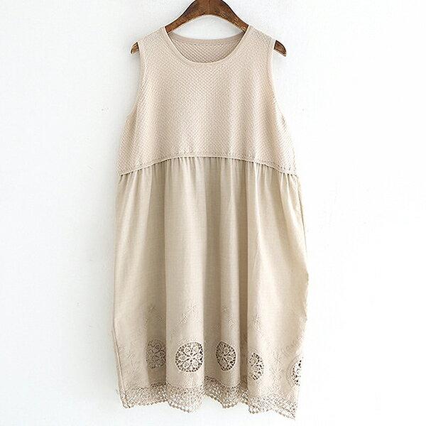 針織拼接鏤空刺繡連身裙洋裝【88-16-8370-0154-18】ibella艾貝拉