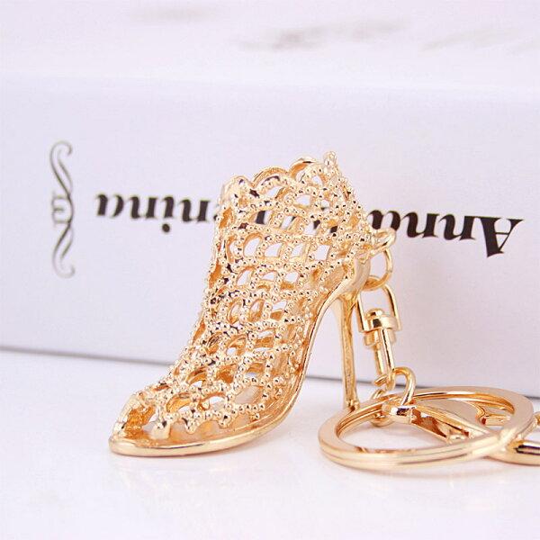 美琪新品創意韓版한국어버전時尚鏤空高跟鞋鑰匙圈金屬掛件美麗大方