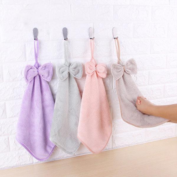 PSMall創意款超細纖維珊瑚絨蝴蝶結擦手巾吸水廚房掛式毛巾【J497】