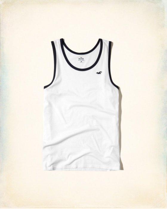美國百分百【Hollister Co.】坦克 背心 T恤 HCO 無袖 T-shirt 海鷗 滾邊 白 XS號 I212