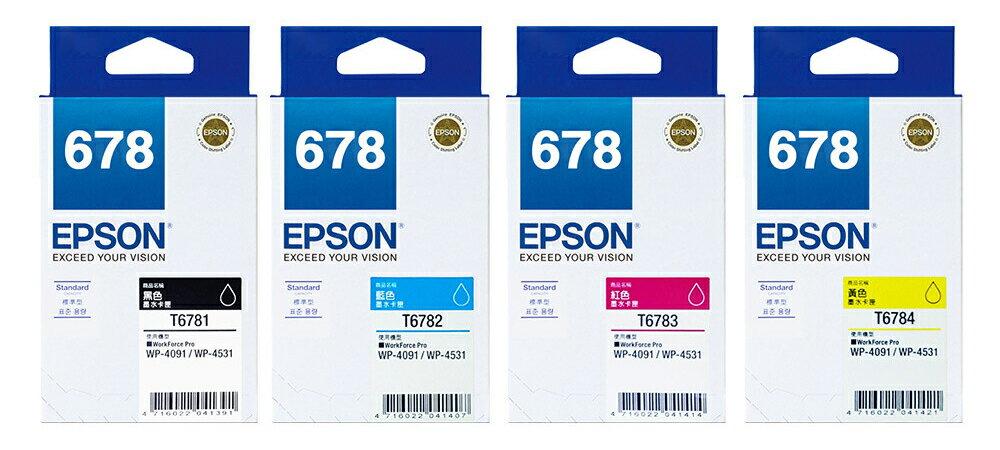 愛普生 EPSON T678350 原廠678標準型墨水匣 紅色/洋紅色 約可印1,200頁 適用WP-4531、WP-4091