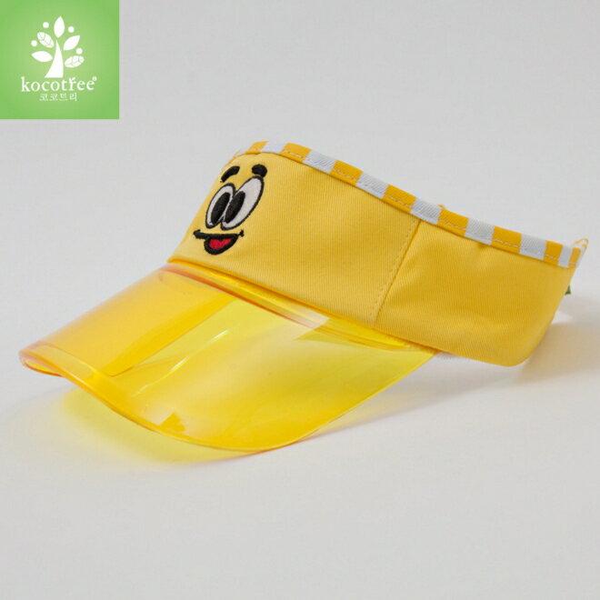 Kocotree◆ 簡約純色條紋滾邊趣味眼睛刺繡兒童透氣好視線空頂帽~黃色