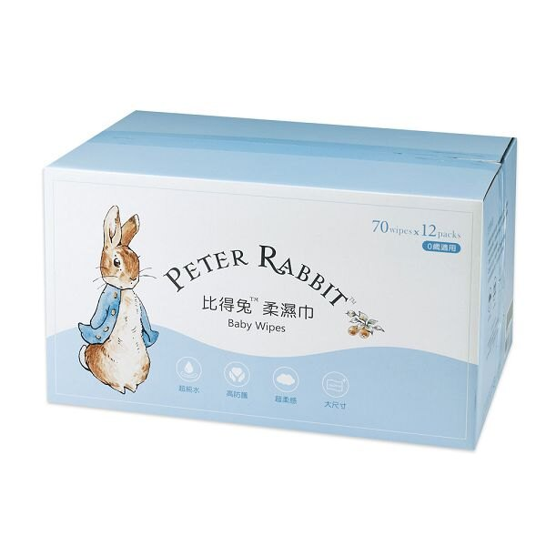 奇哥 比得兔柔濕巾-70抽12包(箱購)|濕巾|濕紙巾|彌月禮 全館滿5千贈星寶貝防曬乳效期至21年11月