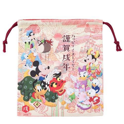 X射線【C416004】日本東京迪士尼代購-新年限定迪士尼束口袋,縮口袋/防塵袋/置物袋/旅行/收納袋/整理袋/束口袋/化妝包