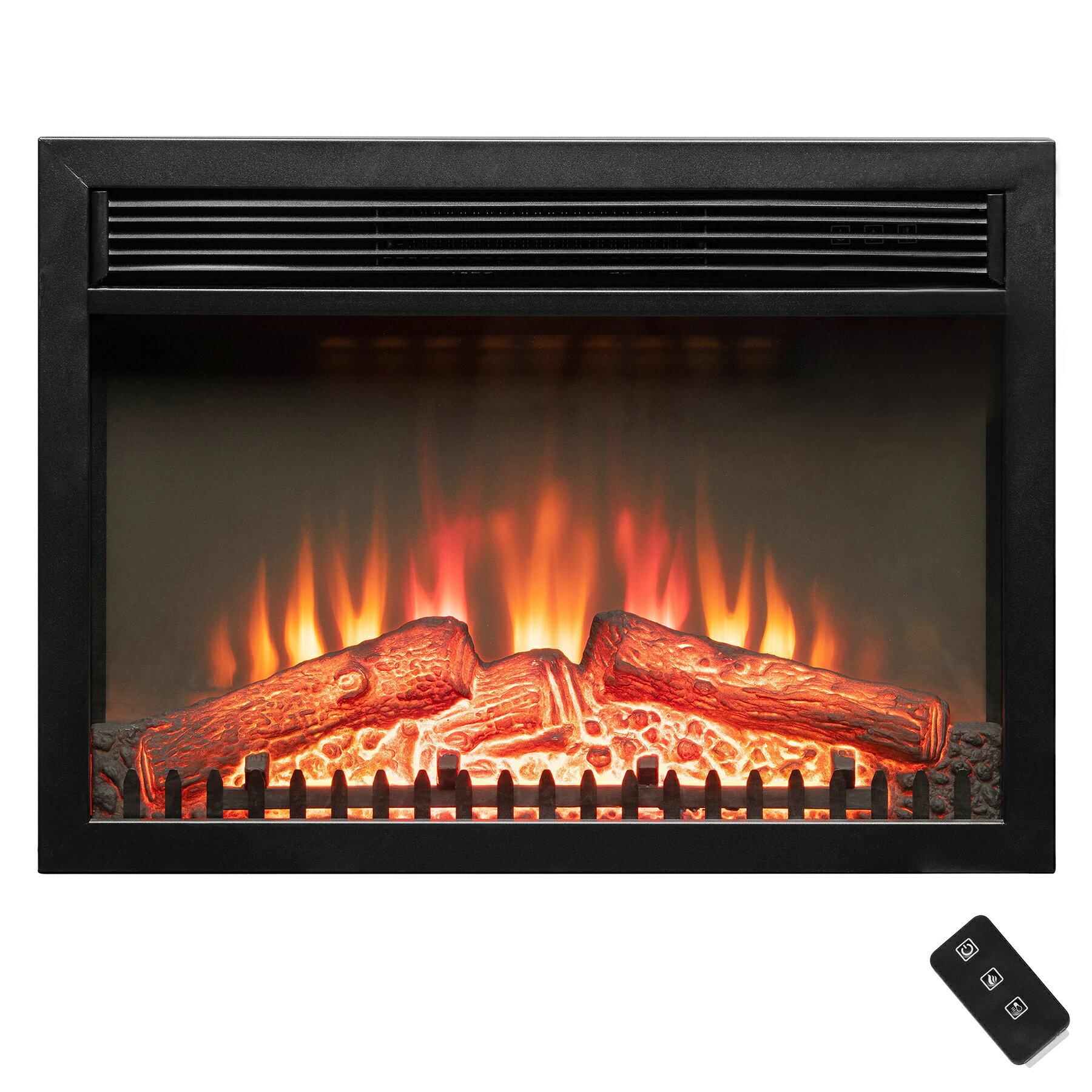 Akdy 23 Black Freestanding Logs Portable Electric Fireplace Heater