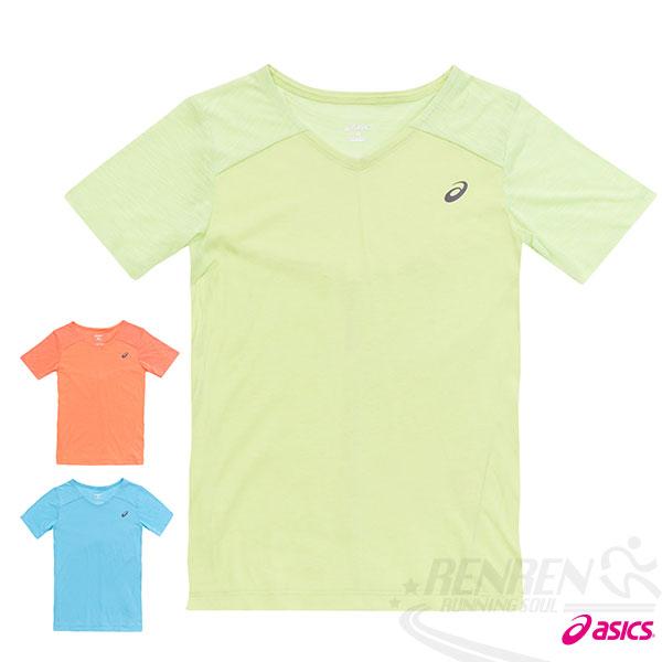 ASICS亞瑟士女慢跑V領T恤(綠)反光機能設計