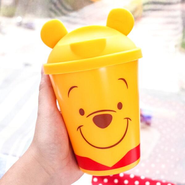 PGS7日本迪士尼系列商品-日貨維尼Winnie附矽膠直飲蓋時尚隨手杯飲料杯【SED71300】