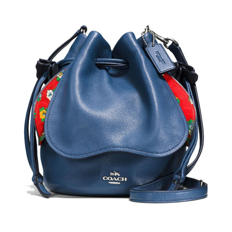 (Smile) COACH F57543 新款女士皮革拉繩水桶包單肩斜挎女包 0