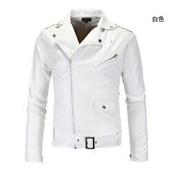皮衣外套皮夾克-純色斜拉鍊腰帶裝飾男外套2色73ua4【獨家進口】【米蘭精品】
