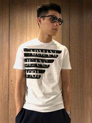 美國百分百【全新真品】Armani Jeans 短袖 AJ T恤 老鷹 logo T-shirt 白色 J066