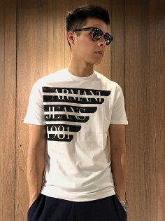 美國百分百【全新真品】ArmaniJeans短袖AJT恤老鷹logoT-shirt白色J066