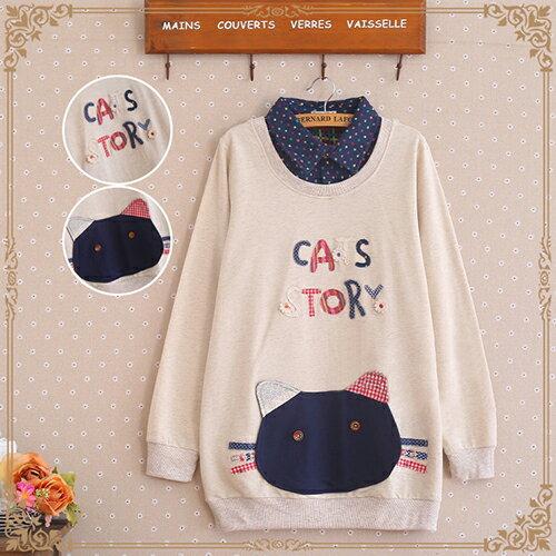 《 任選2件55折》現貨 森系貼佈字母貓咪口袋襯衫領假兩件 (2色,M~2XL) - ORead 自由風格 1