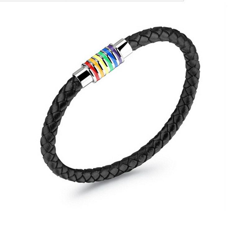 Mao 【5折超值價】情人節禮物最新款彩虹編織造型男款鈦鋼磁石扣皮手鍊