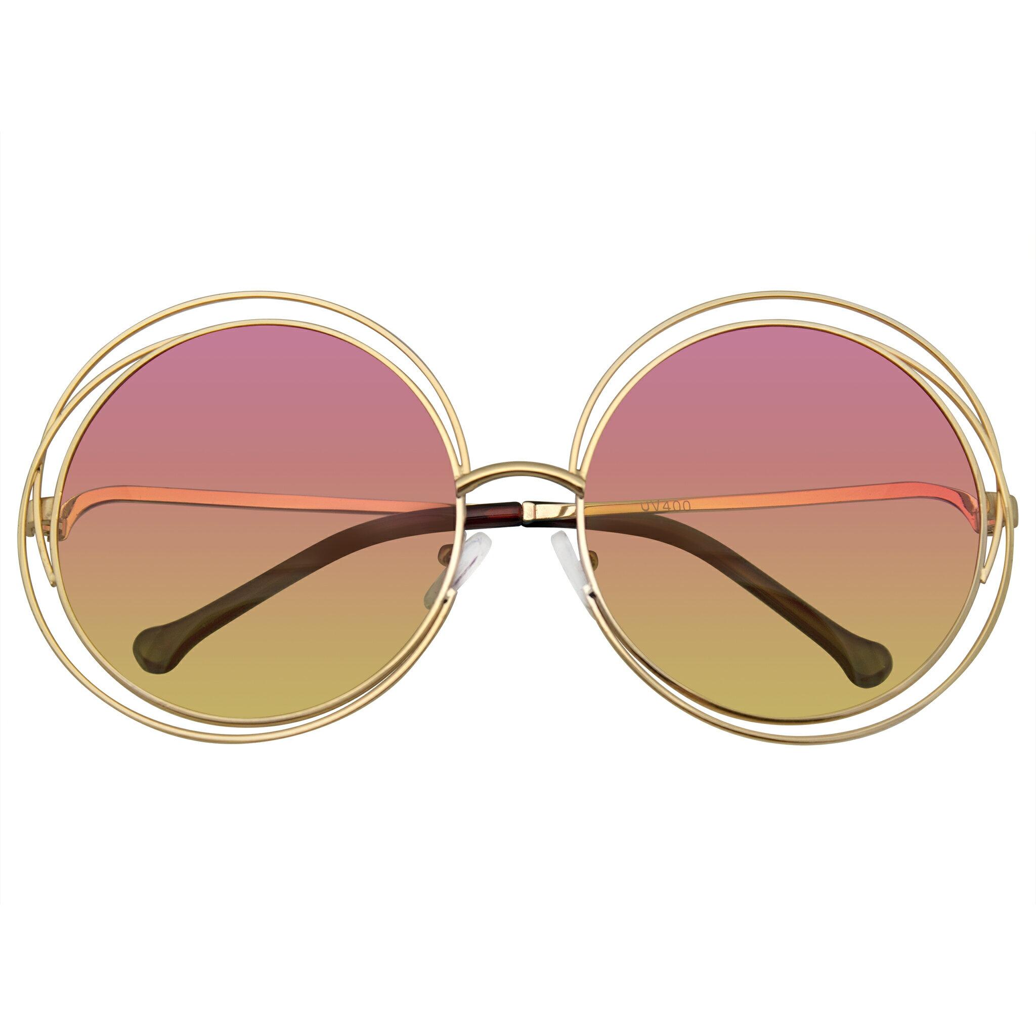beb44e164 Emblem Eyewear - Round Sunglasses Double Wire Big Oversize Boho Circle Lens