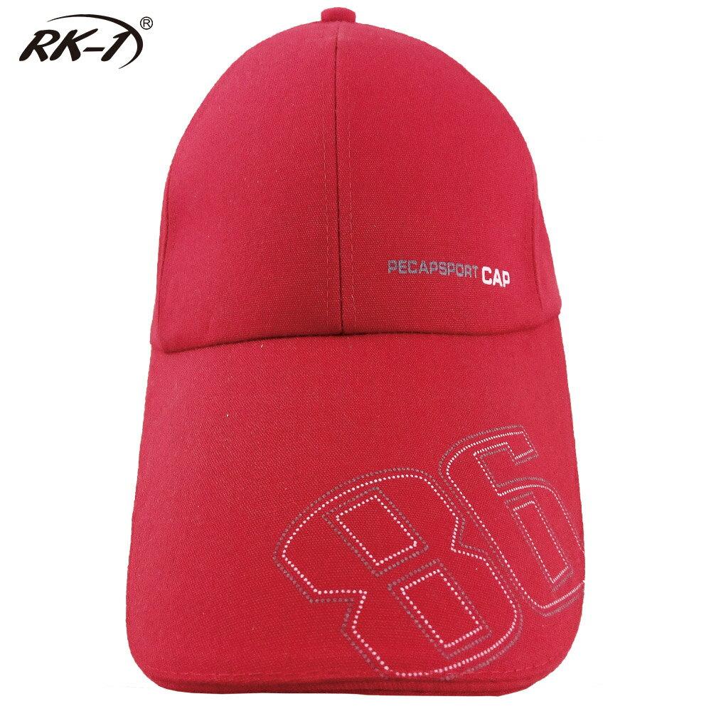 小玩子 RK-1 亮麗紅 布帽 帽子 鴨舌帽 長版型 休閒 遮陽 簡約 時尚 數字