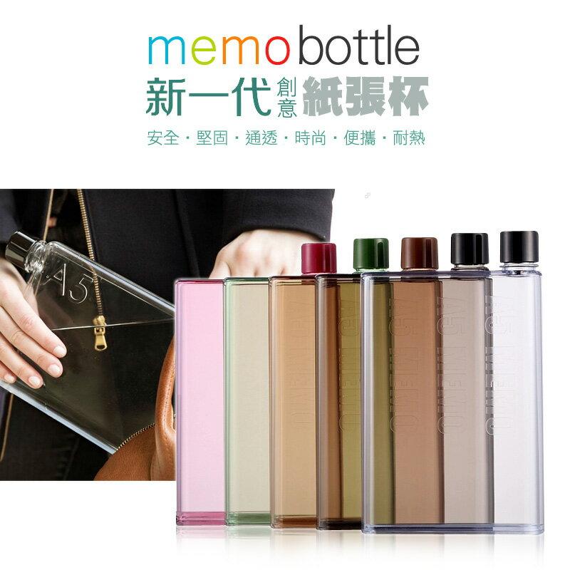 新 Memo Bottle A5 420ML 扁平水壺 水瓶 扁水壺 冷水壺 方便攜帶 不